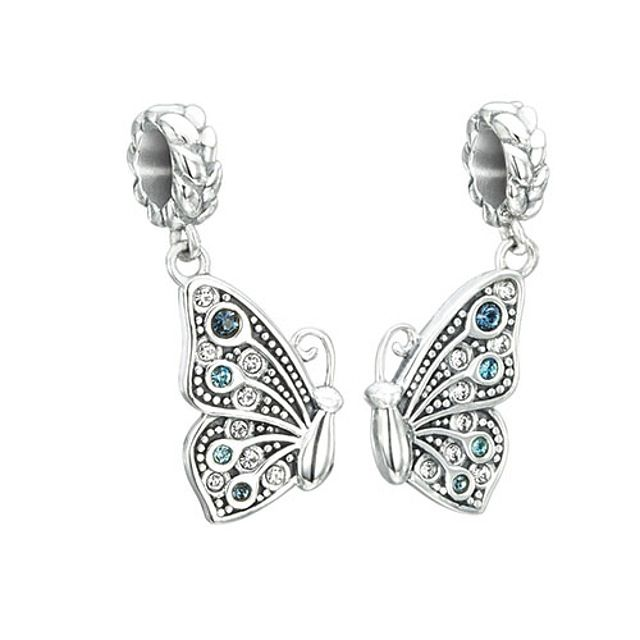 Chamilia True Blue Friendship - Butterfly Charm - Sterling Silver with Blue Multi Swarovski Crystal