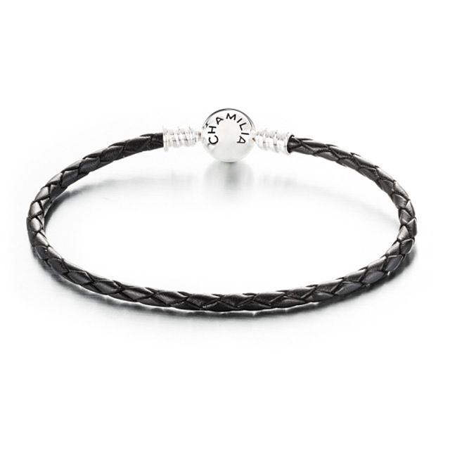 Chamilia Large Braided Black Leather Bracelet with Round Snap Closure