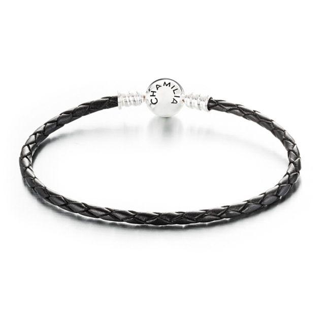 Chamilia Large Braided Black Leather Bracelet with Round Snap Closure