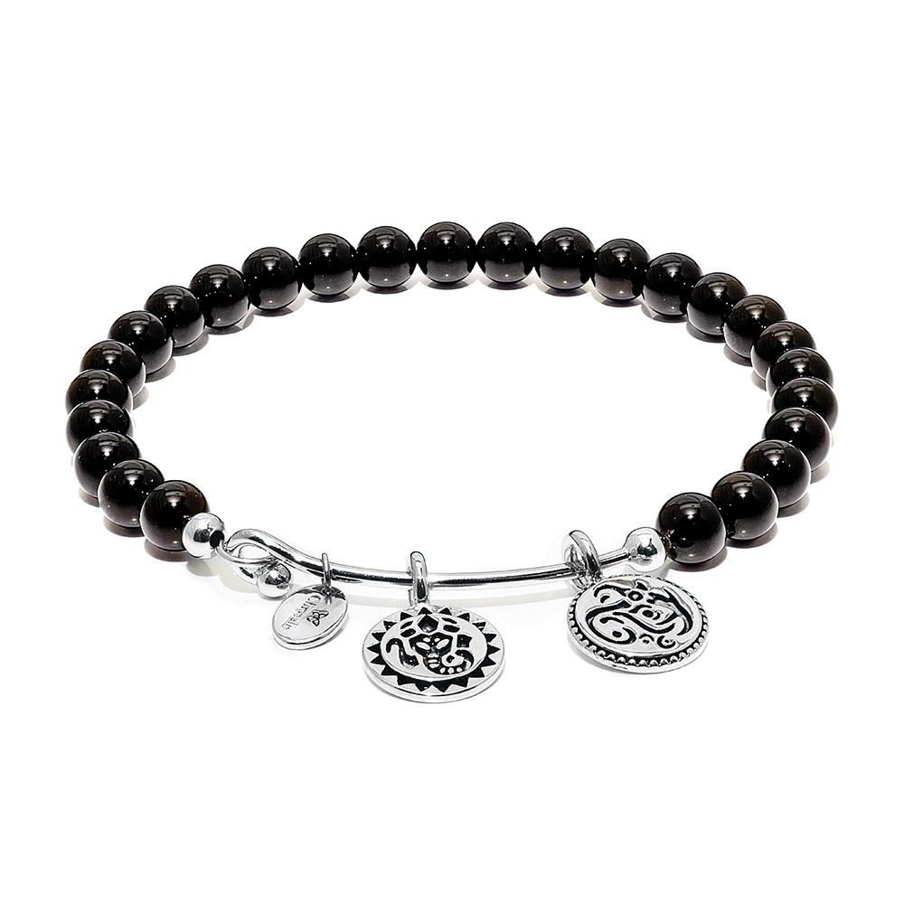 Guardian Black Onyx Lucky Ganesh Rhodium Plated Brass - Small Size - Silver