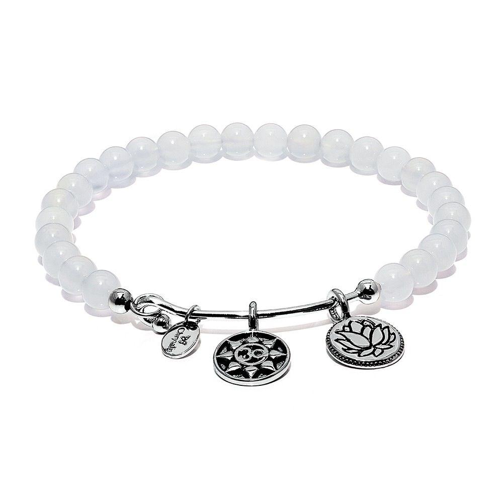 Guardian White Chalcedony Mantra Bangle