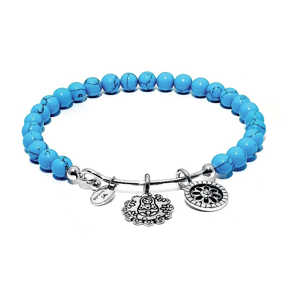 Guardian Turquoise Mother Doll Rhodium Plated Brass -Standard Size - Silver