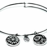 Flourish Collection Expandable Bangle - April Daisy- Small Size - Silver