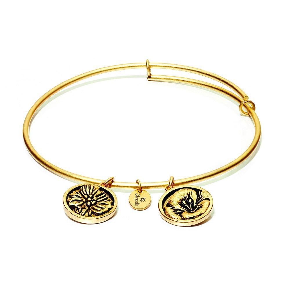 Flourish Collection Expandable Bangle - August Poppy - Standard Size - Gold