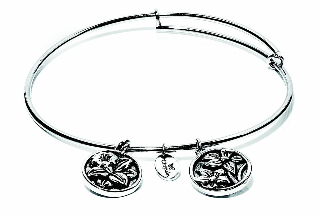 Flourish Collection Expandable Bangle - December Blue Narcissus - Small Size - Silver