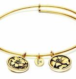 Flourish Collection Expandable Bangle - October Marigold - Small Size - Gold