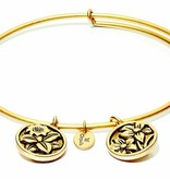Flourish Collection Expandable Bangle - November Chrysanthemum - Standard Size - Gold