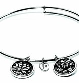 Flourish Collection Expandable Bangle - November Chrysanthemum - Small Size - Silver