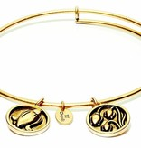Flourish Collection Expandable Bangle - May Lily of the Valley- Small Size - Gold