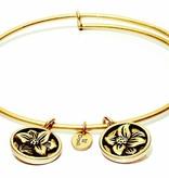 Flourish Collection Expandable Bangle - April Daisy- Standard Size - Gold