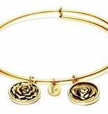 Flourish Collection Expandable Bangle - June Rose- Standard Size - Gold