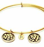 Flourish Collection Expandable Bangle - July Waterlily- Small Size - Gold