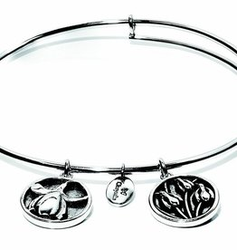 Flourish Collection Expandable Bangle - January Snowdrop- Standard Size - Silver