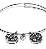 Flourish Collection Expandable Bangle - March Daffodil- Standard Size - Silver