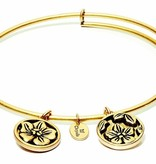 Flourish Collection Expandable Bangle - February Violet- Standard Size - Gold