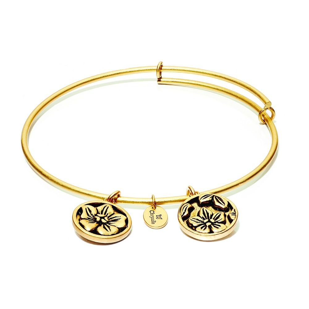 Flourish Collection Expandable Bangle - February Violet- Small Size - Gold