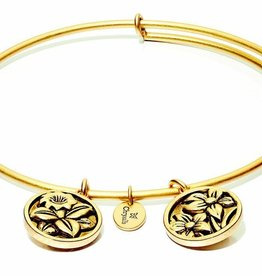 Flourish Collection Expandable Bangle - December Blue Narcissus - Standard Size - Gold