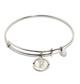 Initial F Expandable Bangle - Silver
