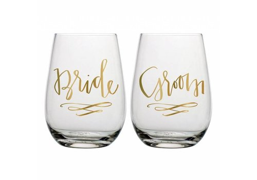 Slant Collections Bride & Groom Stemless Wine Glass Set
