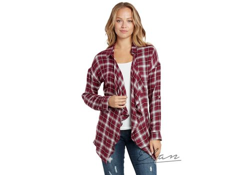 Merlot Plaid Open Cardigan