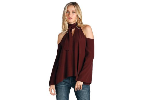 Cold Shoulder with Necktie Top