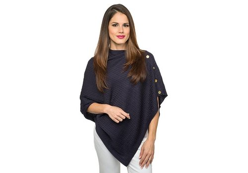 Navy Cable Knit Poncho