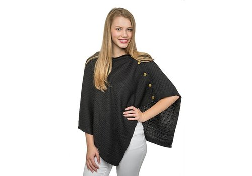 Black Cable Knit Poncho