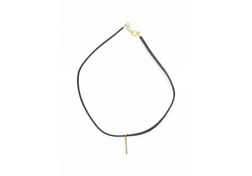 Skinny Suede Choker with Gold Bar