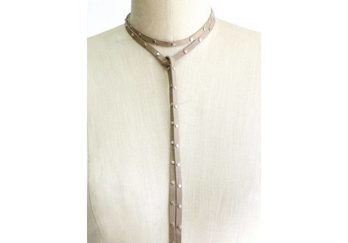 Leather Studded Necklace - Taupe