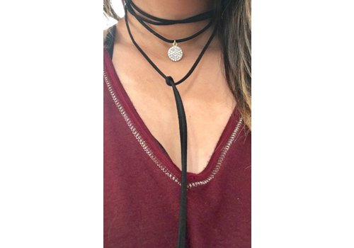 Accessorizit Pave Drop Suede Wrap Necklace