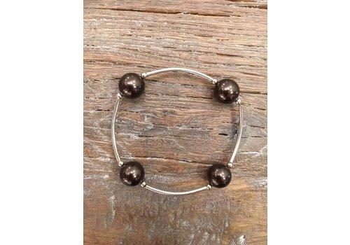 Four Pearl Bracelet - Mocha