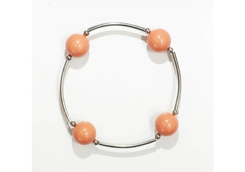 Four Pearl Bracelet - Coral