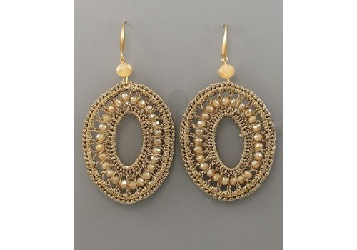 Golden Stella Beaded Gold Oval Earrings