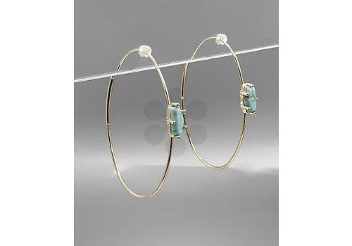 Golden Stella Oval Stone Hoop Earrings - Turquoise