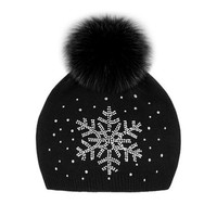 Knit Fox Fur Snowflake Hat - Black