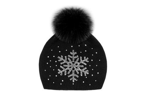 Mitchie's Matchings Knit Fox Fur Snowflake Hat - Black