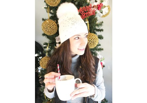Mitchie's Matchings Knit Fox Fur Snowflake Hat - Ivory