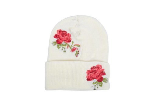 Rose Embroidered Hat -  Cream