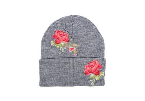 Rose Embroidered Hat - Grey