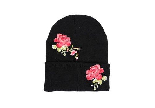 Rose Embroidered Hat - Black