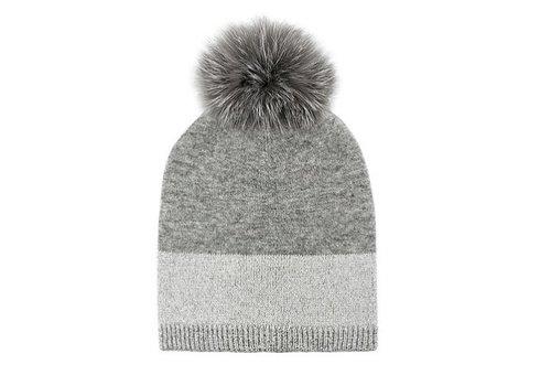 Fox Fur Wool Knit Hat - Silver