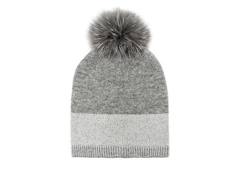 Mitchie's Matchings Fox Fur Wool Knit Hat - Silver
