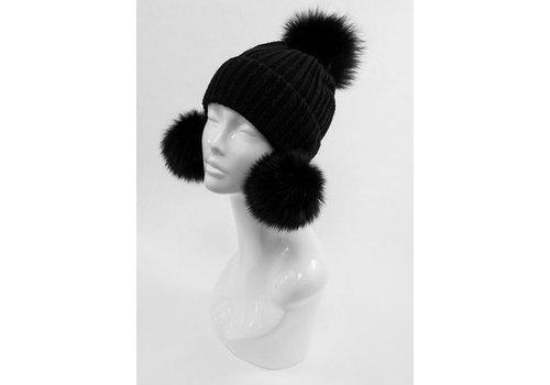 Mitchie's Matchings Fox Fur Wool Knit Hat - Black