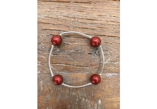 Four Pearl Bracelet - Rust Red