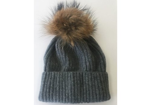 Wool Ribbed Knit Hat With Pom - Charcoal