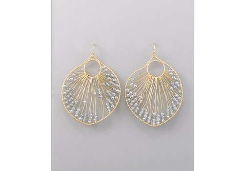 Golden Stella Gold Circle Earrings with Grey Beads