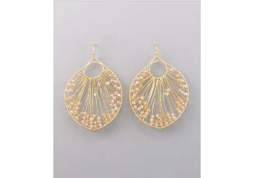 Golden Stella Gold Circle Earrings with Pink Beads