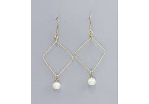 Golden Stella Gold Diamond Drop Pearl Earrings