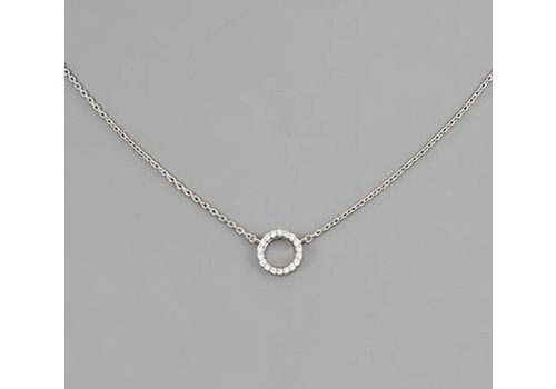 Golden Stella Silver Hollow Circle Necklace with Crystals