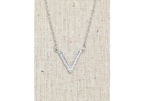 Silver Crystal Lined V Necklace